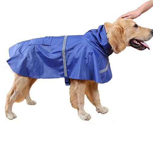 Epeanhome Regenmantel Hunde Wasserdicht mit Leine Haken Regenjacke Hund Leichtgewicht Schützt vor Nässe Regenschutz für Hunde mit Reflektierende Streifen Und Gurt Anpassen Können (5 Farben,M-XXL)