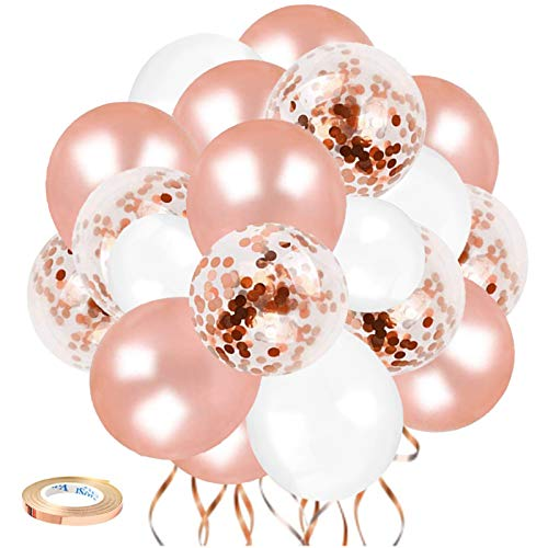 Rose Gold Balloons Party Decorations, 70pcs 12Inch White Rose Gold Balloons For Rose Gold Theme Wedding Birthday Party Backdrop Decorations Holiday Celebration Or Other Party Decorations