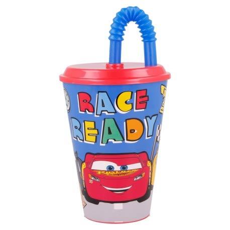 ILS I LOVE SHOPPING Bicchiere Sport con Cannuccia 430 ml per Bambini in plastica (Cars Lets Race)