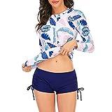 Zando Women Rash Guard Long Sleeve Swimsuits UV UPF 50+ Swim Shirts Bathing Suit Athletic Tankini Set Pink Leaf 12-14