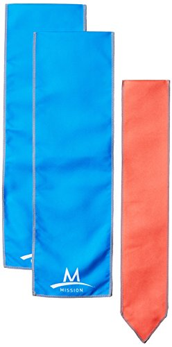 Mission Cooling Accessories Multi-Pack with 1 Cooling Scarf/2 Cooling Wraps, Blue & Coral, One Size