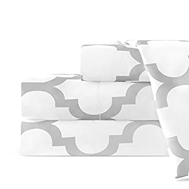 Egyptian Luxury 1800 Series Hotel Collection Quatrefoil Pattern Bed Sheet Set - Deep Pockets, Wrinkle and Fade Resistant, Hypoallergenic Printed Sheet and Pillow Case Set - Queen - White