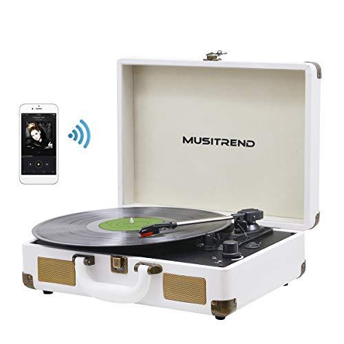 MUSITREND Giradischi vintage con 3 velocità 33 45 78 RPM Vinyl Player LP Giradischi incorporato 2 altoparlanti, Bluetooth, 3.5mm AUX-IN E Jack per Cuffie, Linea RCA, Bianco