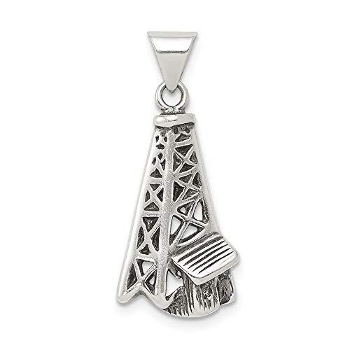 925 Sterling Silver Antiqued Oil Derrick Charm Pendant