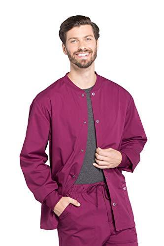 CHEROKEE Workwear WW Professionals Mens Men's Snap Front Jacket, WW360, M, Wine