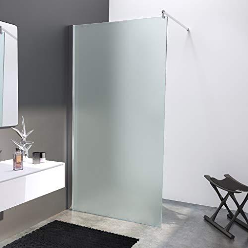 BIJON Duschwand Glas 110 x 200 cm Milchglas Duschabtrennung Glas 8 mm ESG Duschtrennwand, Duschglaswand, Glaswand-Dusche Walk-in Dusche, Glastrennwand, Nano - Lotuseffekt, M3