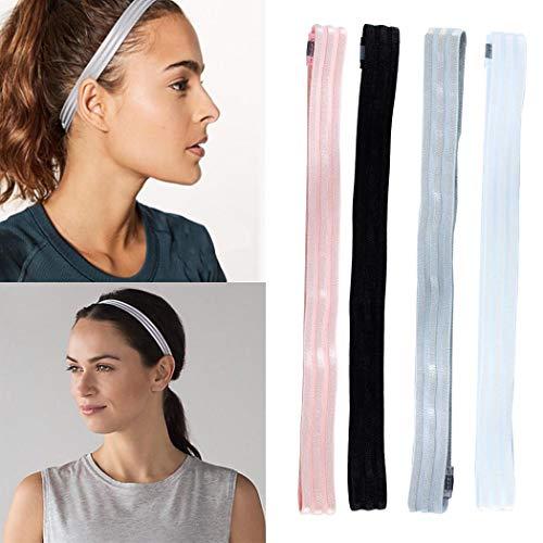 Handcess Yoga Zwarte Hoofdbanden Dikke Sport Workout Haarbanden Elastische Hardlopen Haar Wraps voor Vrouwen en Meisjes(Pack van 3)