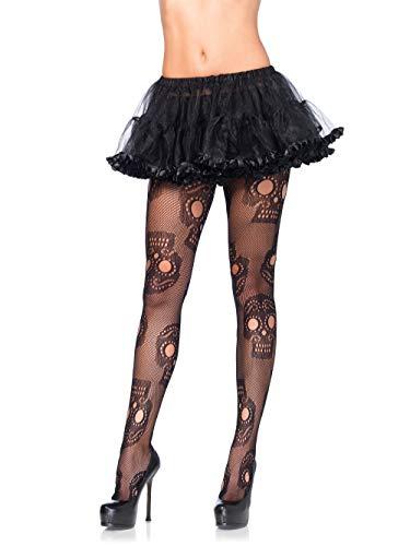 Leg Avenue-Costume da 9982, taglia unica, da 6 a 12, colore: nero, motivo: teschio con collant a rete rinforzate sulle dita e fascia elastica in vita