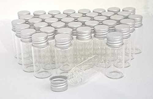 [narunaru] アルミキャップ ミニガラスボトル 容量 10ml サイズ 22ミリ×50ミリ 40本セット ガラス瓶 ガラスボトル ねじ式キャップ