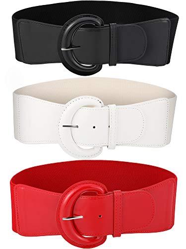 Tatuo 3 Pezzi Donne Skinny Cintura Sottile Elastico Cintura Fiocco per il Vestito, 3 Colori (Set 4)