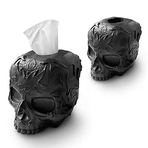 Tissue Box Cover Skull Gothic for Countertop, Modern, Vanity, Dresser, Organizer, Black, Decor, Gift (1 Box Cover Included)