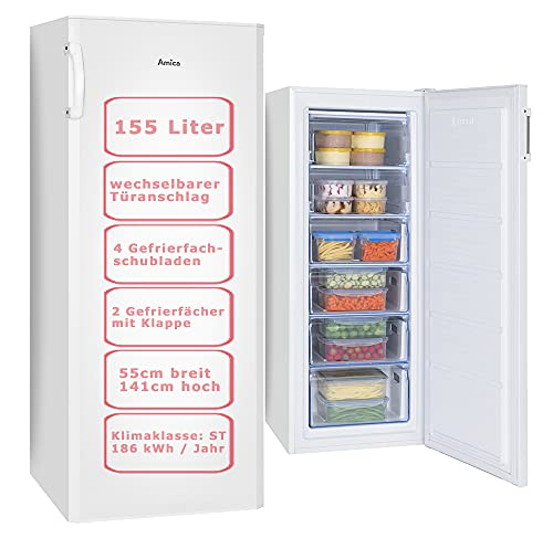 Amica Gefrierschrank Weiß Tiefkühltruhe 155 Liter | 4 Schubladen und 2 Fächer | 141 cm hoch 55 cm breit | GS 324 100 W