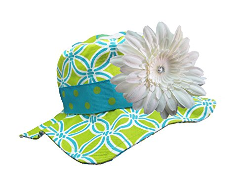 Jamie Rae Hats - Teal Green Sun Hat with White Daisy, Size: 2-4T