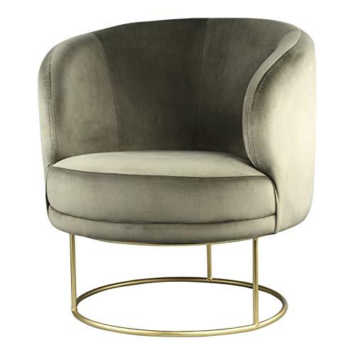 PTMD fluwelen stoel lounge stoel Xelena Velvet in Green - Afmetingen: 78,0 x 78,0 x 82,5 cm