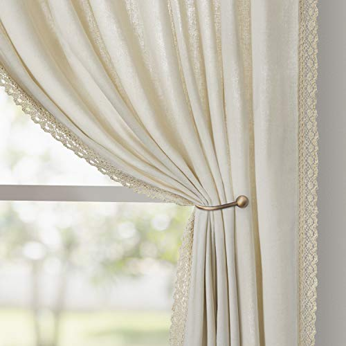 HOMEIDEAS Semi Sheer Curtains Ivory Linen Curtains 52 X 84 Inches Long 2 Panels Light Filtering Farmhouse Curtains for Living Room/Bedroom, Airy Rod Pocket Boho Window Curtains/Drapes