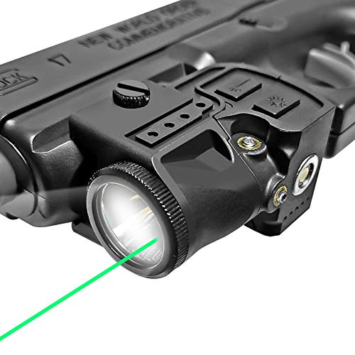 Flashlight Laser Sight Combo,Compact Green Laser and Light Combo,Tactical Picatinny Rail Mounted Pistol Laser with Built-in Magnetic Charging Battery,Used for Pistols,Glock,Handguns,Shotguns,Rifles