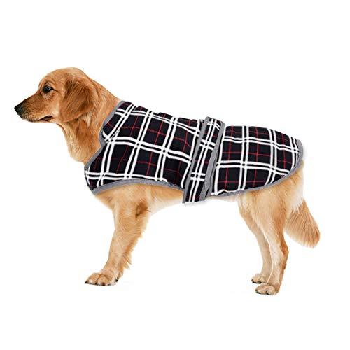 Eastlion Ropa a Cuadros Abrigo de Perro para Invierno Chaleco cálido para Mascotas Ropa de Chaqueta de Perro para Perros Pequeños Medianos Grandes,Negro,XS
