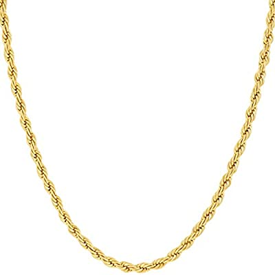 LIFETIME JEWELRY 2mm Rope Chain Necklace 24k Real Gold Plated for Women and Men (Gold, 16)