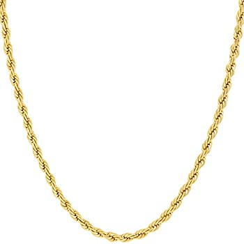 LIFETIME JEWELRY 2mm Rope Chain Necklace 24k Real Gold Plated for Women and Men  Yellow Gold 16