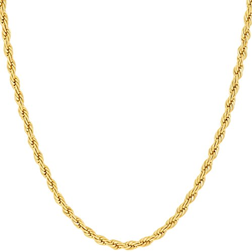 Lifetime Jewelry 2mm Rope Chain Necklace 24k Real Gold Plated for Women and Men (Gold, 20)
