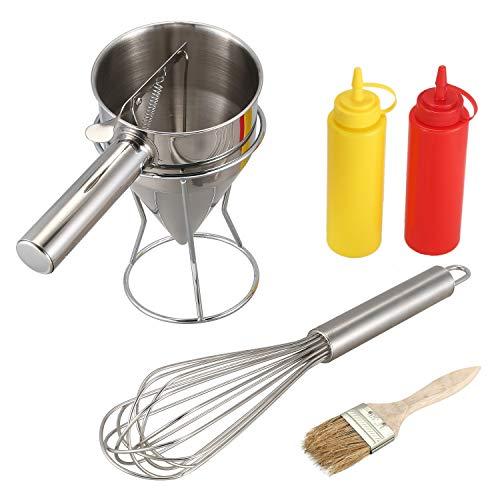 Baalaa Takoyaki - Dispensador de salsa de aguja para botella de pulpo (bolas de pulpo, separador de batidora), juego de batidoras manual para salsa, crema y embudo de dosificación para salsa