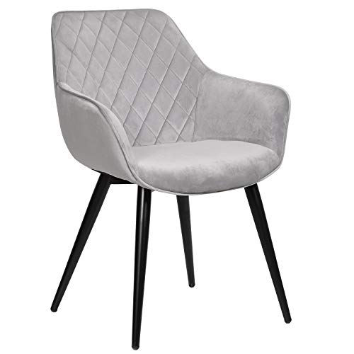 WOLTU Esszimmerstühle BH153gr-1 1x Küchenstuhl Wohnzimmerstuhl Polsterstuhl mit Armlehen Design Stuhl Samt Metall Grau
