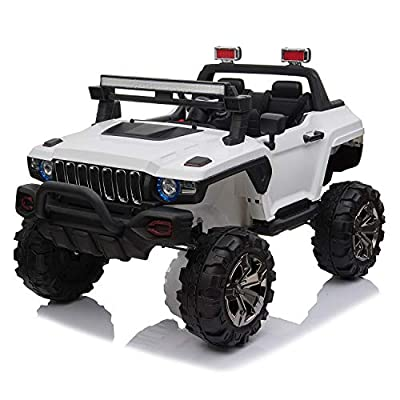 4×4 Off-Road Electric Ride on Car with Remote Control, Real 2 Seaters, 12V 4 Motors, Power Display, Spring Suspension, MP3 Music Player, LED Light by Modern-Depo