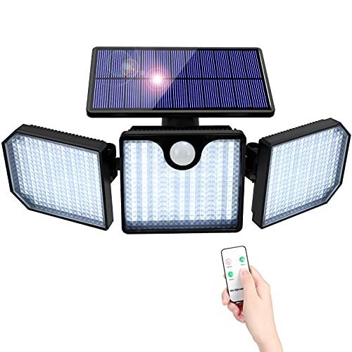 Luz Solar Exterior Sensor de Movimiento,Orelpo 230 LED Lampara Solar para Exterior con 3 Modos lluminación 270° ángulo Amplio IP65 Impermeable Multifuncionales Foco Solar Exterior para Garaje Jardín