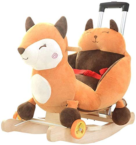 ZXJJD Baby Rocking Horse, Wooden Child Boys and Girls Fox Dual Use Plush Toy with Wheels and Music for 0-3 Year Old Kid Seat