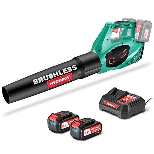 Soplador de Hojas a Bateria Brushless 36V, HYCHIKA 212 Km/h con 2x 4.0Ah Batería, 2 Velocidades Ajustables, Cargador Rápido, Soplador de Hojas Inalámbrico, para Limpiar Hojas, Nieve y Basura Pequeña
