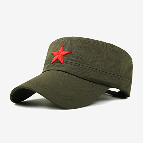 AIMICONG Casquette Homme Red Star Embroidery Cap Military Hat Armée Vert Chapeaux Plats pour Hommes Femmes Vintage Bone Mâle Femme Armée Sun Hat B