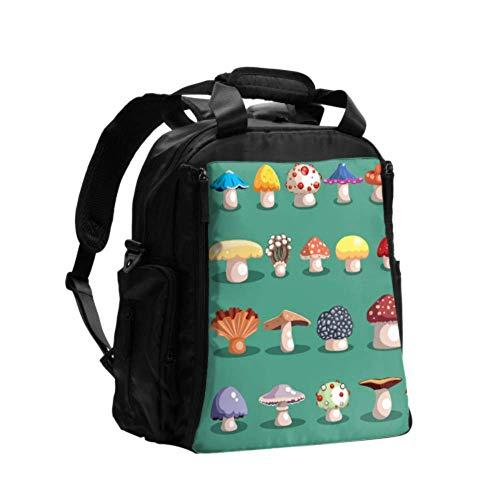 Ausgefallene Wickeltasche Rucksack Cartoon Pilz Windel Wickeltaschen Multifunktions-Reiserucksack mit Windel Wickelunterlage für die Babypflege