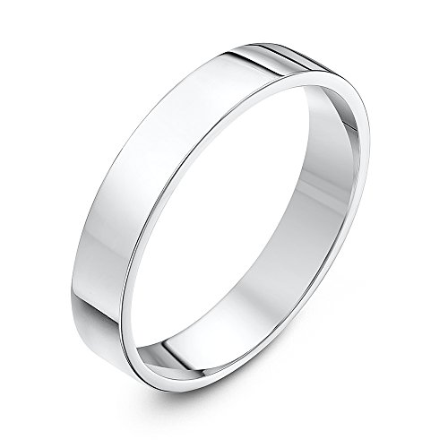 Theia Sterling Silver Super Heavy Flat Court Shape Polished 4mm Wedding Ring - Size W