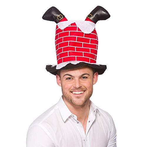 Chapeau pour adulte dans l'ésprit de noël en forme de cheminée avec les jambes du Père Noël qui dépassent.