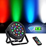 Par Lights Battery Powered, LaluceNatz 24 LED RGBW Wireless Stage Lights Sound Activated 8 Channels Professional DJ Lights with Remote DMX Control for Party, Wedding, Church, Birthday, Stage Lighting