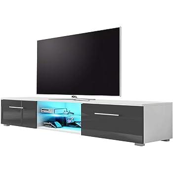 Edith - Mueble de TV (140 cm), Color Blanco Mate y Gris Brillante ...