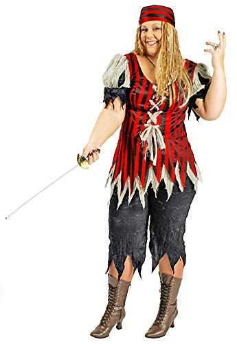 Körner Festartikel Piratin Kostüm Freibeuterin Damen für große Größen Gr. 44 46 - Tolles XXL Piraten Seeräuber Kostüm für Frauen zu Karneval und Mottoparty