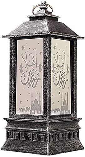 hwljxn Lámpara del palacio de Ramadán, lámpara de la linterna de la linterna de la luz de Ramadan, lámpara de linterna islámica de Ramadán, adornos de escritorio para el hogar de la decoración