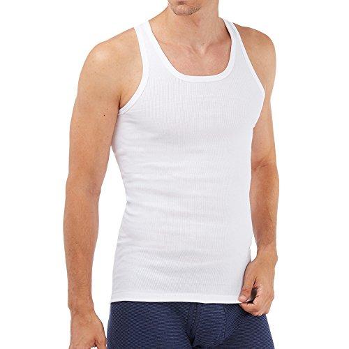 SCHÖLLER Herren Unterhemd ohne Arm 5er Pack l 153-610 l Größe 6 (L) l Farbe Weiß
