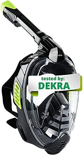 Khroom® Máscara de Snorkel Segura para CO2, Máscara Facial de Esnórquel Antivaho | Seaview X - Máscara de Buceo para Adultos y niños (Negro, S/M)