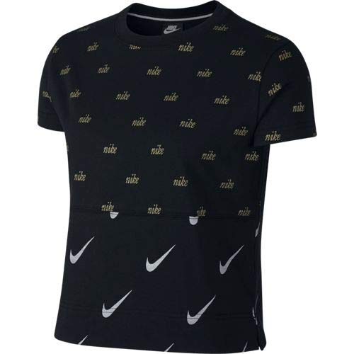 NIKE NSW - Camiseta para Mujer (metálica), Mujer, AJ0100, Negro, Extra-Small