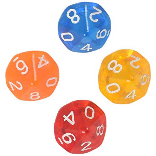 TTBD 10 Pieces des D10 De a 10 Faces pour RPG Jeux de Table Board Transparent Multicolore