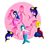 Stampo Silicone 3 Sirene e Due Delfini Pasta di Zucchero...