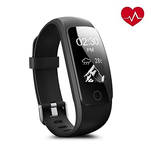 CAMTOA Braccialetto Fitness, ID107Plus HR cardiofrequenzimetro Fitness Tracker, 0.96''OLED Touchscreen Bluetooth Activity Tracker, IP67 Impermeabile Sport Braccialetto