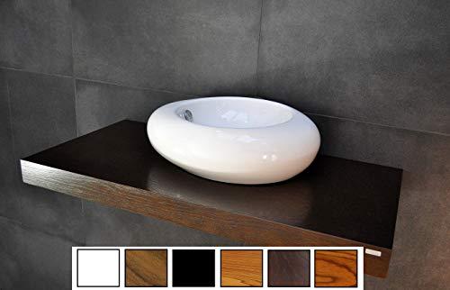 Carl Svensson Edler Waschtisch Waschtischplatte Waschkonsole Eiche mit Halterung WT-120 + WT-120H (WT-120H Walnuss-Wenge mit Handtuchhalterung)