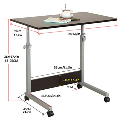 TTXP Steel Pipe Computer Desk For Small Spaces with Black MDF,Lockable Casters, Adjustable Height,Pop Up Desk for Reading, Eating, Bedridden