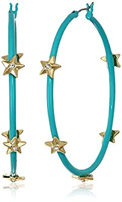 Steve Madden Women's Rhinestone Star Studded Large Aqua Hoops in Yellow Gold-Tone Earrings, One Size