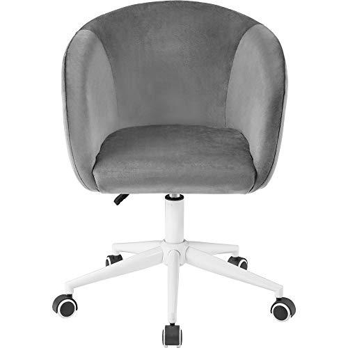 zcyg Silla de computadora, silla de escritorio de terciopelo, silla de oficina con brazos, cojín de lujo para silla giratoria en casa, oficina (gris)