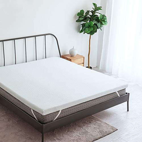 CO-Z 3-Inch Gel-Infused Memory Foam Mattress Topper Queen Size, Ventilated Air Cell Technology, w/Removable Cool Fabric Cover, Perfect for Summer Use, CertiPUR-US Certified, 10-Year Warranty