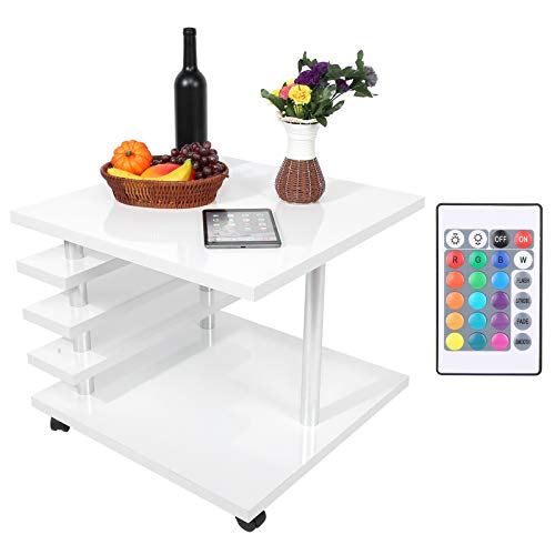 Modern Coffee Table, 40kg / 88lb Load Movable 2-Layer Cocktail Table with 4 Wheels & LED Light, High Gloss Multipurpose Coffee Desk for Living Room, Hotel, Cafe, etc(White)